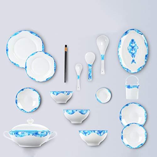 Dîner Combi-Set - 45pcs Set, bols en porcelaine, assiette, cuillères, pour micro-ondes, lave-vaisselle, armoire de désinfection (Couleur : Bleu)