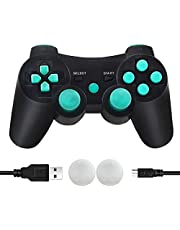 CFORWARD PS3 Controller Wireless, PS3 Joystick, Play 3 Remote Double Vibration 6-Axis Gamepad Compatible with Playstation 3 (Lago Blu)