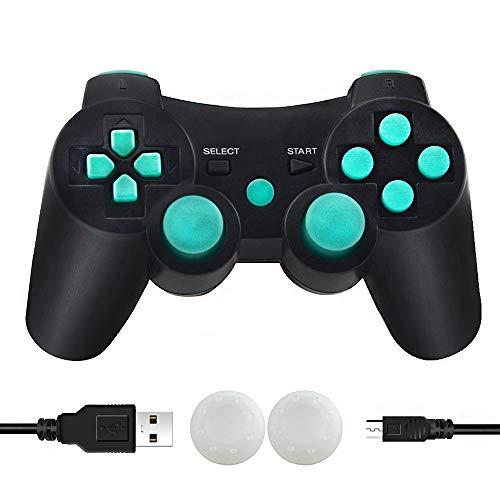 PS3 Manette sans Fil Bluetooth Manette PS3 Double Vibration Six Axes Télécommande Joystick pour Playstation 3 avec Câble de Recharge (Lac Bleu)