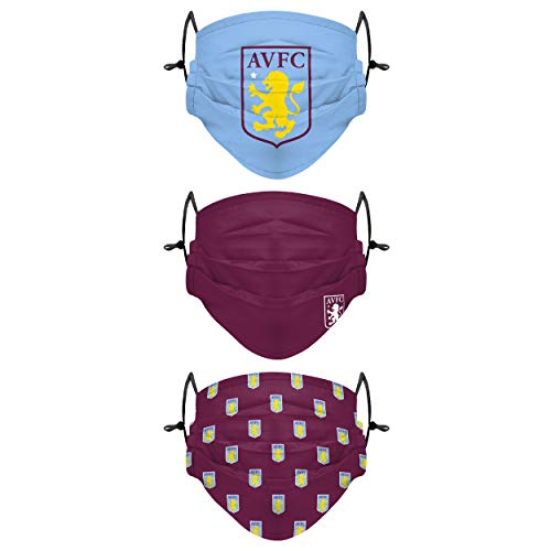 Forever Collectibles UK ASTON VILLA FC YOUTH 3 PACK PLEATED FACE COVERINGS WH