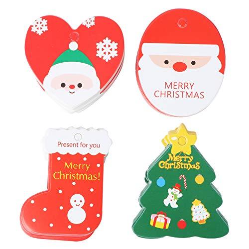 EXCEART 200Pcs Weihnachtskraft Geschenkanhänger Hängen Tags Cartoon Mini Kraftpapier Etikett Präsentieren Dekorative Tags Geschenkkarten für Geschenkverpackung Weihnachtsbaum Hängen