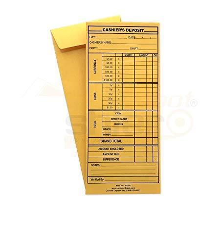 """500 Cashier Depot EZ400 Cashier's Deposit Report Envelope, 4 1/8"""" x 9 1/2"""", Premium 24 LB (500 Envelopes)"""