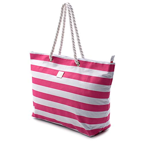 Large Canvas Striped Beach Bag - Top Zipper Closure - Waterproof Lining - Tote Shoulder Bag For Gym Beach Travel (Striped Pink)