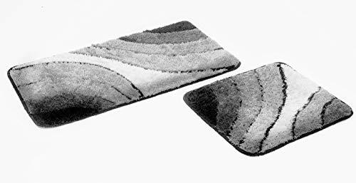 Goodway 2-delige badmatten set Wave grijs