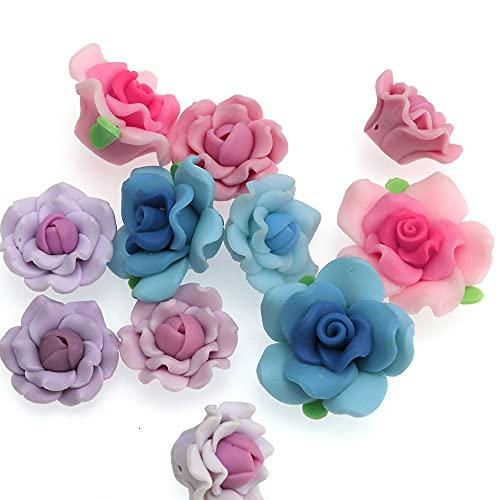 WEIMEIDA JQBB430 - 10 cuentas de arcilla de polímero, cuentas de flores de rosas para collares y mujeres, cuentas sueltas para hacer joyas SGNTZ (color: mezcla)