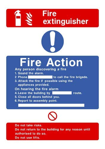 Fire Action Feuerlöscher-Aufkleber, Warnschild, Vinyl, selbstklebend, 21 x 29,7 cm
