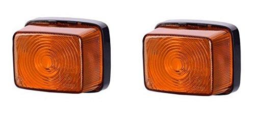 Lot de 2 feux de position latéraux oranges 12 V 24 V marquage E pour voiture, camion, remorque - Lot de 2 ampoules universelles