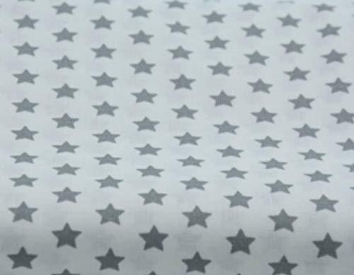 Amazinggirl Baumwollstoff Sterne Meterware Stoff aus 100% Baumwolle 1,6 m x 2 m - Stoffe zum Nähen Nähstoffe Uni Baumwollstoffe Öko-Tex Standard 100 weiß mit grauen Sternen