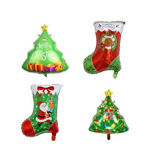Juego de 4 globos de aluminio con diseño de helio de papel de aluminio para fiestas de cumpleaños, festivales, decoración de Navidad (árbol de Navidad/calcetines de Navidad)