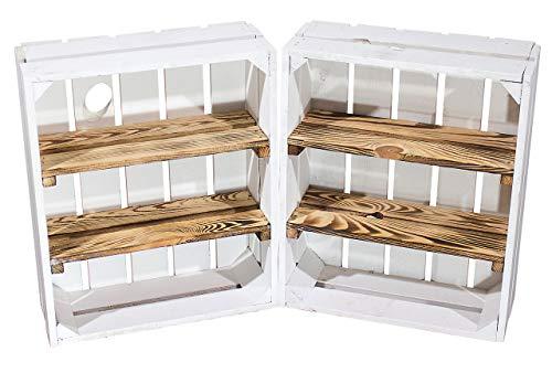 Vintage-Möbel24 GmbH 2er Set Regalkiste flach mit 3 geflammten Brettern Shabby Chic Serie - weiße Obstkiste/Holzkiste als Kistenregal/Gewürzregal/Wandregal 50x40,5x16cm