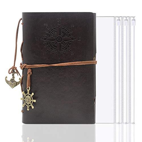 LZYMSZ A5 Leder Schreibtagebuch Notizbuch, 3 Bindertaschen, nachfüllbares Spiralbuch, Notizbuch mit unliniertem Papier, Retro-Anhänger, klassisch geprägt (Kaffee)