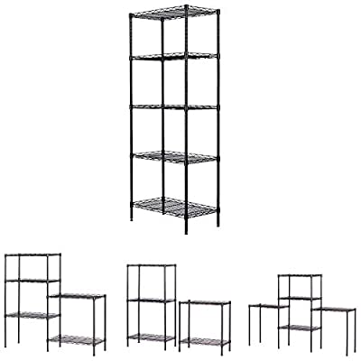 5 Tier Wire Shelving Unit,Changeable Heavy Duty...
