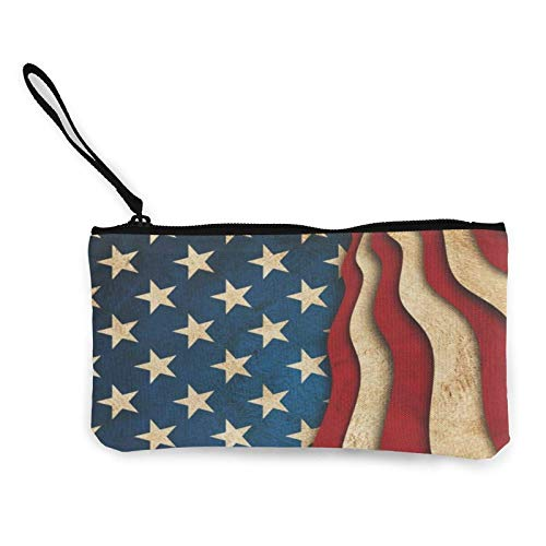 XCNGG USA Canvas Change Purse Cellphone Clutch Purse with Wrist Strap Multipurpose Cosmetic Bag Zip Mini Wallet for Travel Holiday