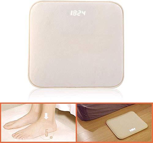 BITUBITU Smart Alarm Clock Carpet Pressure Sensitive Floor Rug Memory Foam Mat with Time LED Display Customizable Ringtone for Creative Gift for Heavy Sleeper