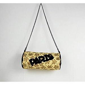genähte Handtasche in gold schwarz mit Pailletten Schriftzug Paris, Tasche, Schultertasche