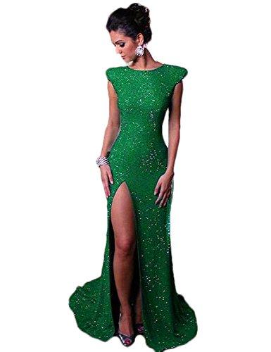 Stillluxury Pailletten Meerjungfrauen-Abendkleid mit Schlitz und geteilten Ärmeln, lange Brautjungfernkleider, Übergröße P99 Gr. 32, smaragdgrün