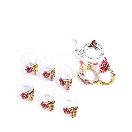 JY&WIN Tech Creative Flower Juego de Tetera y Taza de Vidrio, Juego de Tazas de té de Cristal de Kung Fu para Bebidas Calientes, té Helado, para Hermana, mamá, Abuela, maestras