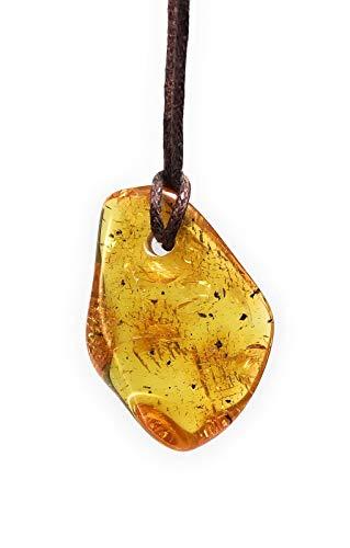 Bernstein Anhänger Natur ca. 4cm cm mit Bohrung und Halsband ca. 40cm