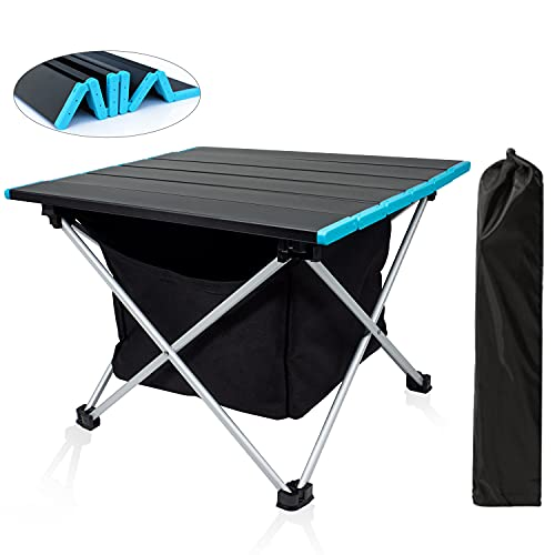 Portable Folding Camping Table, Table Low Plus Storage Pocket, Folding Side Table Aluminum Top for Outdoor Cooking, with Easy Carrying Bag, Hiking, Travel, Picnic, BBQ, Beach, Home Use and Travel