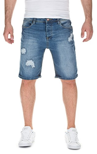 Sky Rebel Herren Jeans Shorts Denim Destroyed Bermuda, 19300 Middle Blue, W29