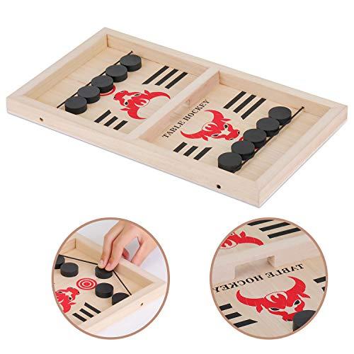 EKKONG Katapult Brettspiel, Bouncing Hockey Brettspiel Katapult Schach Chess Tisch Slingshot Brettspiel 2-Spieler-Desktop-Spiele Tabletop-Spiel Indoor-Party-Spiel (Bullenmuster)