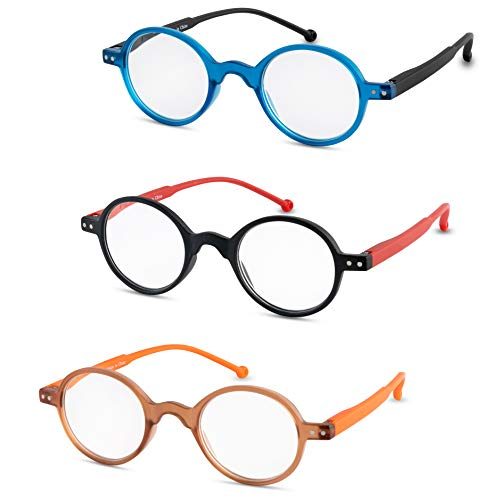 online glasses retailers Reading Glasses for Women and Men (3-Pack) Fashion Readers - Retro Round Frame
