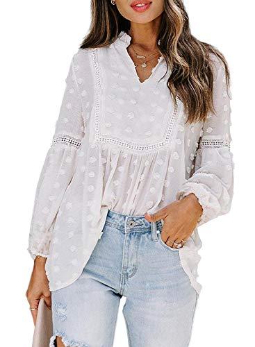 Dokotoo Damen Bluse V-Ausschnitt Langarm Tunika Frühling Sommer Vintage Boho Oberteile Shirts Tops Spitze Laternenärmel Lose Sweatshirt Langarmshirt S-2XL (L, Weiß)