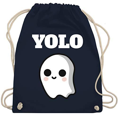 Shirtracer Halloween - Geist YOLO Motiv - Unisize - Navy Blau - Statement - WM110 - Turnbeutel und Stoffbeutel aus Baumwolle