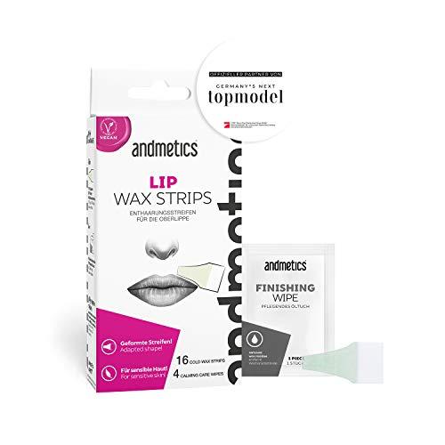 andmetics LIP wax strips: Lippen Kaltwachs Enthaarung Streifen fürs Gesicht, perfekte Form zum Wachsen der Oberlippe, ohne mit Warmwachs zu reizen