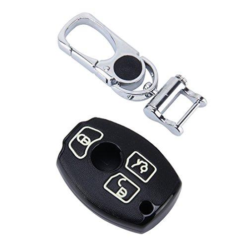 Haute Qualité voiture Clé avec coque partie de Housse en cuir synthétique & boutons en noir/lumineux pour BMW avec 3 touches clé de voiture