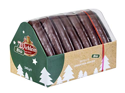 Wicklein Organic Chocolate Covered Lebkuchen Hearts with Cassis Blackcurrant Filling, 8.46 oz