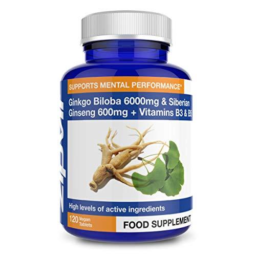 Ginkgo Biloba e Ginseng Siberiano, Ginkgo Standardizzato 6000mg e Ginseng 600mg con Vitamina B3 e B5. 120 Compresse Vegane. Fornitura per 4 Mesi