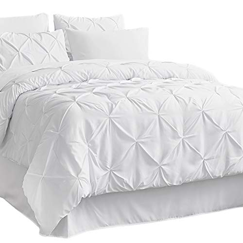 Bedsure White Comforter King Bed in A Bag 8 Pieces - 1 Pinch Pleat Comforter(102X90 inches), 2 Pillow Shams, 1 Flat Sheet, 1 Fitted Sheet, 1 Bed Skirt, 2 Pillowcases