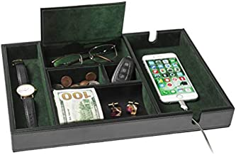 Homesteo Valet Tray | 6 Compartments | Bedroom Organizer with Charging Station | Perfect for Men and Women | Black PU Leather | Decorative Gift Box | Money Clip Free | Green