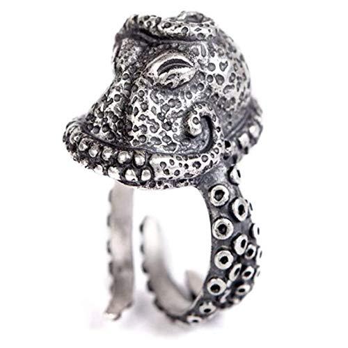 U/K 925 Sterling Silber einstellbar übertrieben Krake Ring Unisex Schmuck Weihnachten Geburtstagsgeschenke (Color : Chrome)