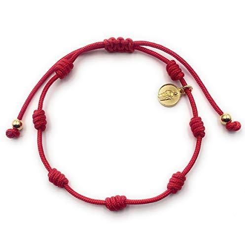 Alessandra Boho - Pulsera Roja con 7 Nudos para Mujer con Mini Medalla de San Judas Tadeo con Baño de Oro