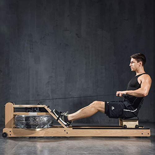 BATTIFE Water Rowing Machine with Bluetooth Monitor Oak Wood...