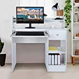 Computer Desk Modern Laptop Desktop Study Writing Table with Keyboard Tray, Drawer & Shelves for Small Spaces,...
