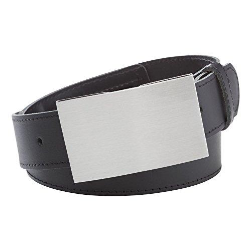 Ledergürtel schwarz Herren LOCK Bundweite 90 cm breiter Gürtel mit Geheimfach von INVIDA