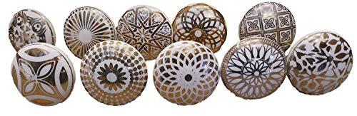 Pushpacrafts Xfer 003 - Pomos de cerámica para puerta (10 unidades), color dorado y blanco