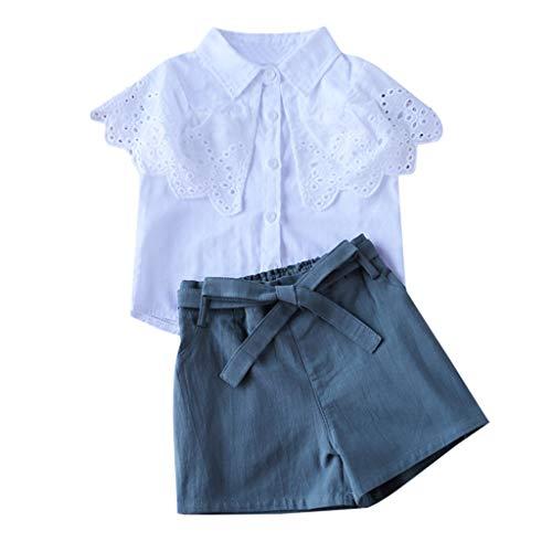 Moneycom❤ Ropa de bebé niña Ropa de Verano Camisa Hueca + Pantalones Cortos Bowknot 1 Conjunto de cumpleaños Tul Chic Ceremonia Boda Blanco Blanco 6-7 Años