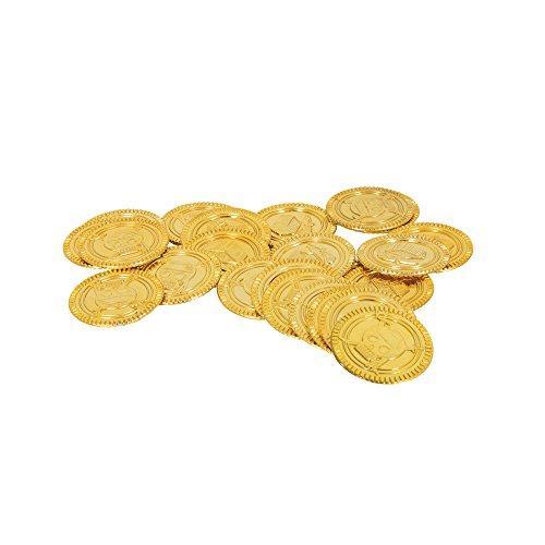 Unique Party - Monedas de Plástico de Oro del Tesoro Pirata - Paquete de 30 (84776)