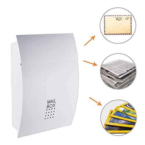 Afsluitbare brievenbus - Wall Mail Box RVS Brievenpost Doos Muur Monteerbaar Met Krant Houder Snelle Verzending 32×5×37CM
