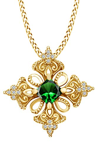 AFFY Princess Simulated Emerald & Spakling White Cubic Zirconia Irish Celtic Cross Pendant Necklace 14k Yellow Gold Over Sterling Silver with 18' Chain