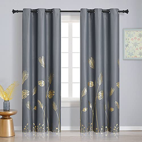 Estelar Textiler Gold and Grey Blackout Curtains Thermal Insulated 84 Inches Length with Palm Tree Leaf Curtains Energy Saving Curtains Drapes for Sliding Door Living Room, Grey, 42Wx84L, 2 Panels