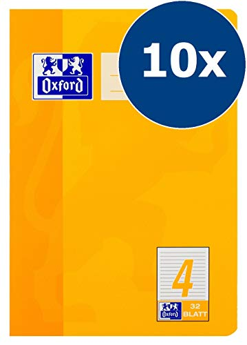 Oxford Schule Schulheft A5, liniert, Lineatur 4, 32 Blatt, orange, 10er Pack