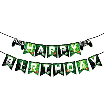 WERNNSAI Game Birthday Banner - Video Game Party Supplies Happy Birthday Bunting Garland for Boys Kids Player Geeks Gaming Themed Party Decorations Assembled from WERNNSAI