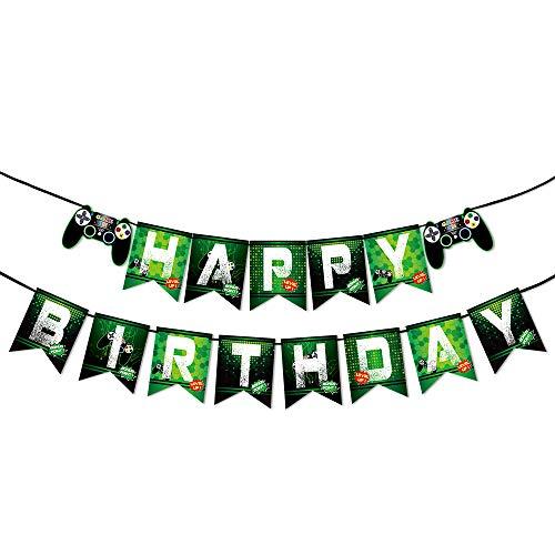 WERNNSAI Juego Cumpleaños Pancartas - Vídeo Juego Suministros para la Fiesta Feliz cumpleaños Guirnalda para Muchachos Niños Geeks de Jugadores Temas de Juego Decoraciones de Fiesta Ensamblado