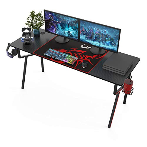 It#039s_Organized Gaming Desk 63 inch KFrame Design Home Office DeskProfessional Gamer Workstation with Cup Holder Headphone Hook Controller Stand Black