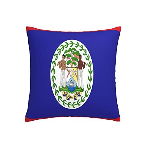 Kissenbezug mit Flagge von Belize, quadratisch, dekorativer Kissenbezug für Sofa, Couch, Zuhause, Schlafzimmer, drinnen & draußen, niedlicher Kissenbezug 45,7 x 45,7 cm